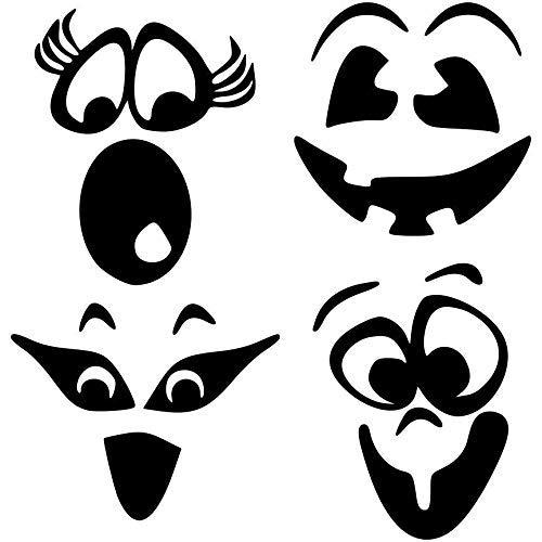 4Mix N 'Match Kürbis Gesicht Vinyl Aufkleber (Set # 1)-Kürbis Gesicht Aufkleber, Kürbis Gesicht Vinyl, Fall Decor, Halloween Kunst, 12,7-17,8cm je