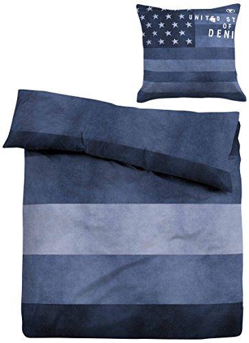 """TOM TAILOR 49467/807/001 Linon Bettwäsche Nos \""""Jeans\"""", 135 x 200 cm und 80 x 80 cm, nach Öko-Tex Standard 100, indigo blau"""