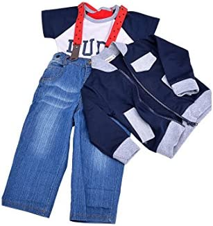 TOOGOO(R)Guapo chico Nino Abrigo + camiseta + pantalones vaqueros Conjunto de Chaqueta de correa larga Traje Ropa 90cm