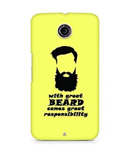 Amez designer printed 3d premium high quality back case cover for Motorola Nexus 6 (With Great Beard)