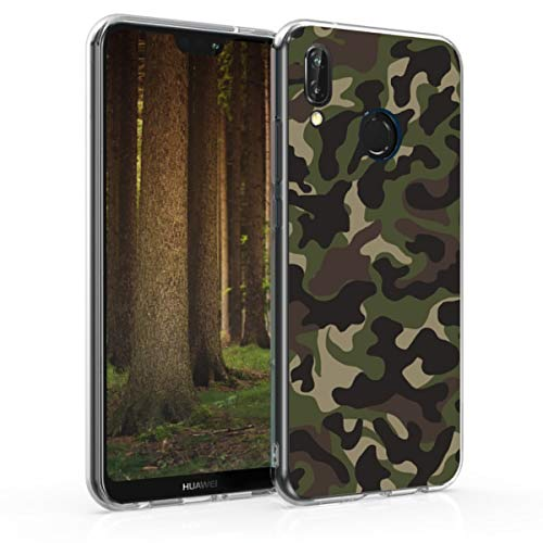 kwmobile Funda para Huawei P20 Lite - Carcasa de TPU para móvil y diseño Camouflage en Verde Oscuro/marrón Oscuro/Beige