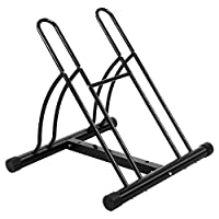 OneTwoFit Bike Racks 2-Bike Floor Stand Bicycle Cycle Stand Garage Bicycle Storage Packing Rack for Indoor and Outdoor Using OT082