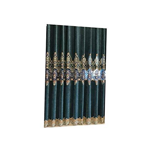 RHJKASDN Vorhänge Vorhänge Europäische Stickerei Kaschmir Schlafzimmer Vorhänge Für Wohnzimmer Moderne Fenster Vorhang Valance Schlafzimmer W150cmxH250cm Haken Vorhang -