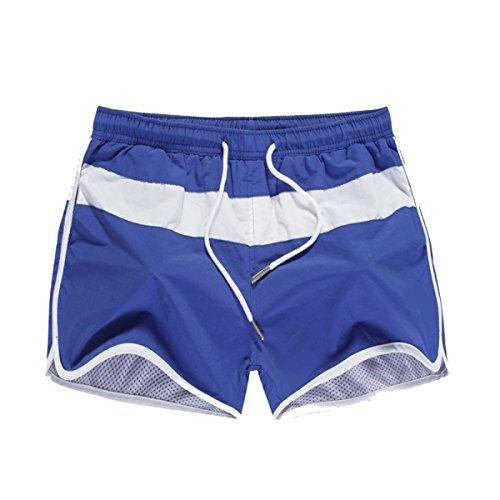 KUWOMINI.Men Beach Fashion Bademode Sport Trunks Blue1