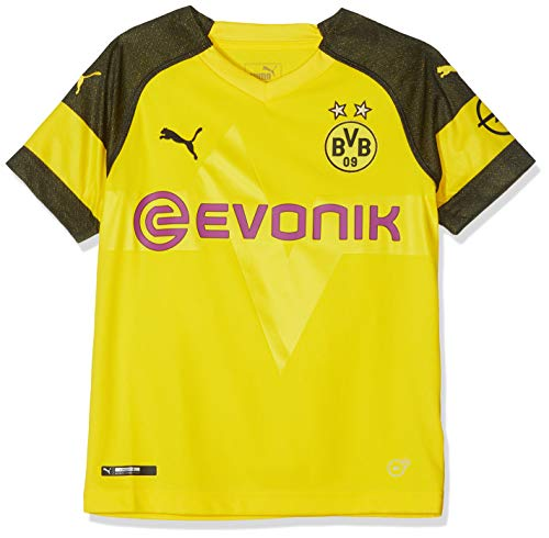 PUMA Unisex Kinder BVB Home Shirt Replica Junior Evonik with OPEL Logo Trikot, Cyber Yellow, 152