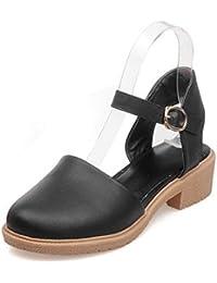 AllhqFashion Mujeres Puntera Cerrada Mini Tacón Hebilla Sólido Sandalias de vestir