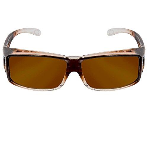 Oramics Sonnenbrille polarisiert Unisex Sonnen-Überbrille für Brillenträger, UV400 Überbrille für Damen und Herren - FIT OVER Sonnenbrillen werden über die normale Brille getragen (Kaffee - Kaffee)