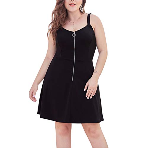 A-linie Rock Slim (Große Größen Damen Reißverschluss Low-Cut V-Ausschnitt Taille Slim A-Linie Sling Rock Bankettkleid)