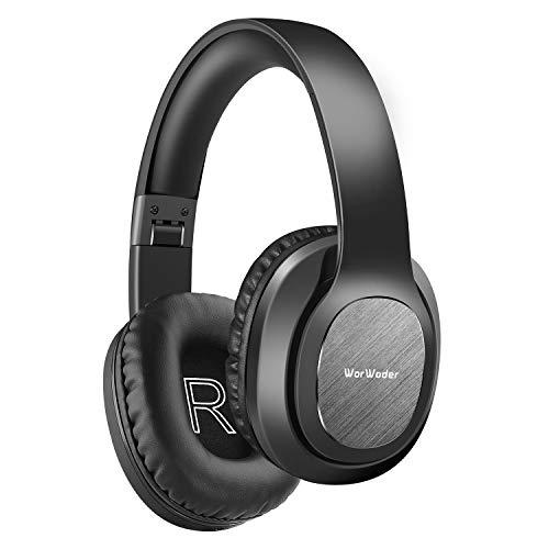WorWoder Bluetooth Kopfhörer Over Ear, 50 Stunden Spielzeit Kopfhörer mit Hi-Fi Stereo Headset Tiefer Bass, Wireless Kopfhörer mit Mikrofon für iPhone/Android/PC/Handys/TV (Schwarz)