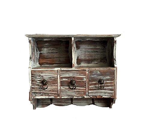 Weinlese-hängende Kabinette, Festholz-Fach-Art Speicher-Wand-Aufhängung Regal-Kleiderhaken-hölzerne Dekoration auf dem Wand-Lagerregal 37 * 11 * 31CM (größe : - Holz-speicher-kabinette