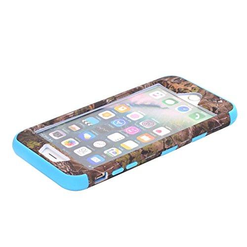 """iPhone 7 Plus Coque,Lantier Camouflage Forest Design Résistance à la chute Résistance à la baisse 3 en 1 Combo Hard Housse de protection en plastique pour iPhone 7 Plus 5.5"""" Violet Green Tree Sky Blue"""