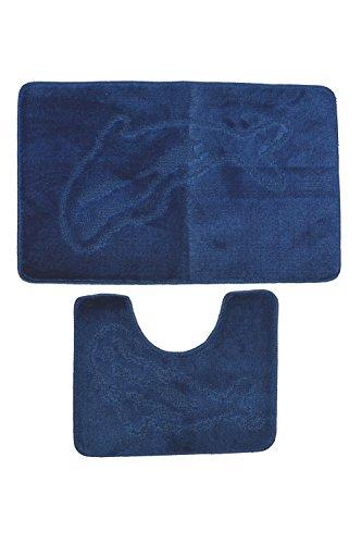 2-er Set Badematte in Delphin-Motiv Badvorleger,Badematten, Bade-Zimmermatten 2-teilig, Duschmatte, Badteppich 2er-Set lila Delphin-Motiv 100% Polypropylen Waschmaschinen geeignet und antiallergisch in verschiedene Farben (dunkelblau)