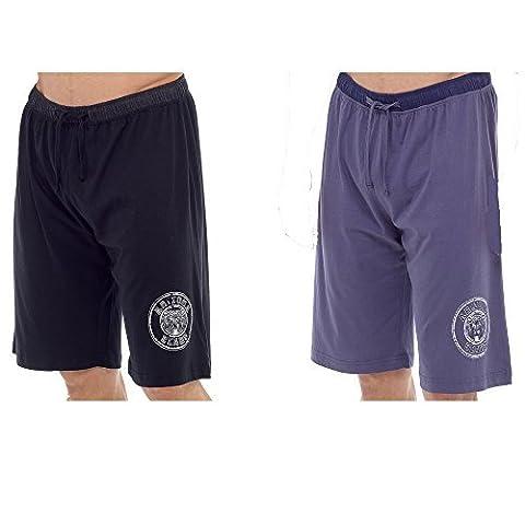 Hommes Pack 2 Insignia Jersey De Coton Salon Short - Noir et Jeans, Medium