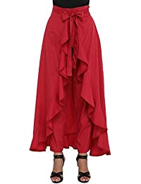 Nexona Creation Latest Stylish Ruffle Crepe Palazzo For Girls And Women High Waist Long Pants With Maxi-Skirt...