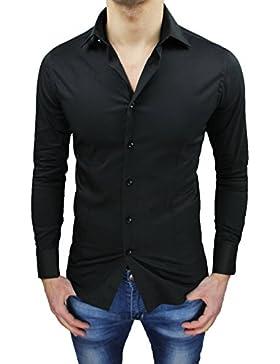 Camicia uomo sartoriale casual elegante nero slim fit aderente