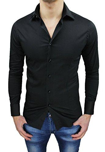 Camicia uomo sartoriale casual elegante nero slim fit aderente (m)