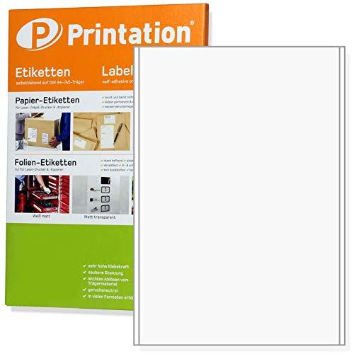 Etiketten 100 Stück 200 x 297 mm (DIN A4) selbstklebend weiß bedruckbar - 100 A4 Bogen à 1x1 200x297 Aufkleber - 4458 3418 3478. 100 Bögen