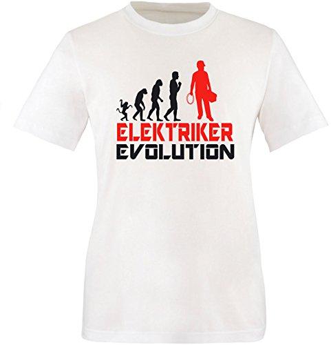 EZYshirt® Elektriker Evolution Herren Rundhals T-Shirt Weiss/Schwarz/Rot