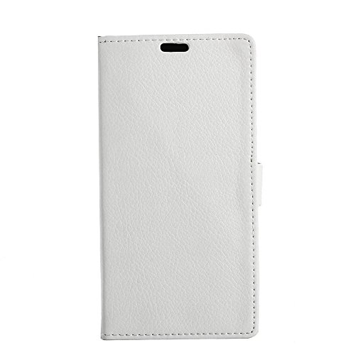 Forhouse Lenovo Vibe C A2020 Wallet Case, Lenovo Vibe C A2020 Leather Case, Premium PU Leather Phone Case Slim Folio Stand Bumper Back Cover for Lenovo Vibe C A2020 - White