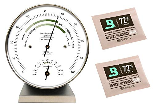 Fischer Fischer Wohnklima-Hygrometer mit Thermometer Edestahlsockel Made in Germany und 2 Stk Calibration Kits