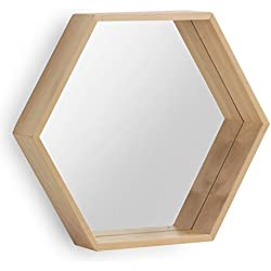 GEESE 7407 - Espejo hexagonal de madera natural, 9 x 52 x 45 cm, color natural