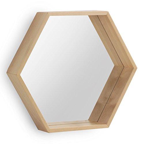 GEESE Espejo Hexagonal de Madera Natural