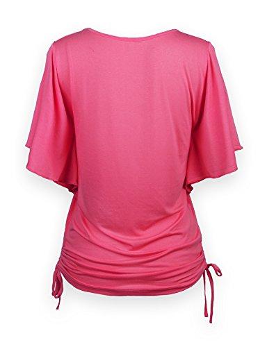 ReliBeauty Damen Rundausschnitt T-Shirt Kurzarm Volant Falten Verstellbare Bände Tunika Tops Rosarot