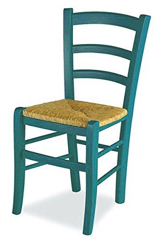 Mobili ilar set 2 sedie venezia - anilina blu 137 sedile paglia