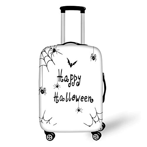 Travel Luggage Cover Suitcase Protector,Spider Web,Happy Halloween Celebration Monochrome Hand Drawn Style Creepy Doodle Artwork,Black White,for Travel L (Las Halloween Stores Vegas)