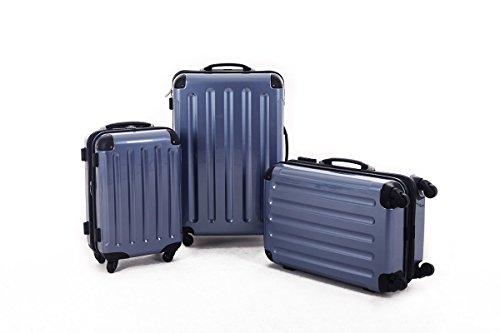 KOFFERSET M L XL Polycarbonat / ABS Trolley Koffer Bordcase Set Hartschale Reisekoffer Kofferset 4 Rollen (Eisblau)