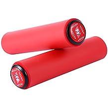 1par Puños de silicona antideslizante bicicleta de montaña de ciclismo manillar Universales Ergonomicos (ROJO)