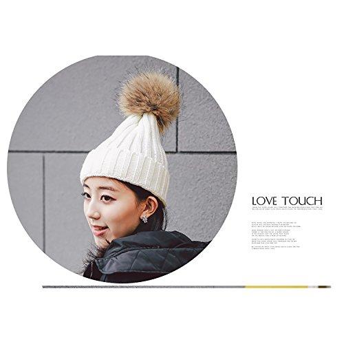 Cappello Invernale Donna Beanie Cappelli di Lana con Pon Pon Berretti da  Pingenaneer (Bianco). Visualizza le immagini ce8b88a8e2b7