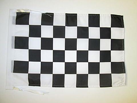 DRAPEAU DAMIER NOIR ET BLANC 45x30cm - PAVILLON À DAMIERS - COURSE AUTOMOBILE - FORMULE 1 30 x 45 cm haute qualité - AZ FLAG