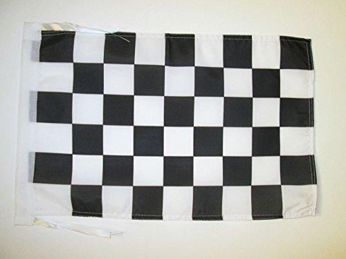 BANDIERA A SCACCHI BIANCHI E NERI 45x30cm - BANDIERINA GARA AUTOMOBILISTIA 30 x 45 cm cordicelle - AZ FLAG