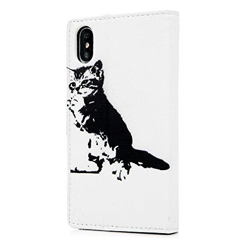MAXFE.CO Lederhülle Case Schutz für iPhone X PU Leder + PC Innere Etui Schale Backcover Brieftasche Gemalt Flip Cover mit Kartenfächer Magnetverschluß Standfunktion Schmetterling Katze 2