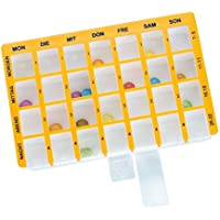 Pillendose Arzneikassette 7-Tage, 1 Woche, Gelb - Tablettenbox Pillenbox preisvergleich bei billige-tabletten.eu