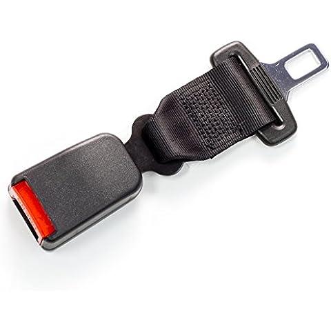 Seat Belt Extender - Alargador rígido para cinturón de seguridad de 20 cm, lengüeta metálica de 25 mm, certificación de seguridad E4, tipo B, color negro