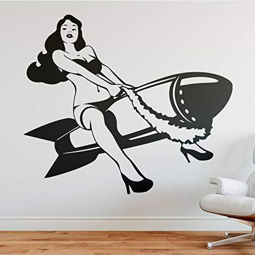 Diy Abnehmbare Inspirierende Zitat Rakete Mit Sexy Mädchen Wandaufkleber Poster Für Kinder Kindergarten Schlafzimmer Dekoration Wohnheim Wandbild Pvc 67X57Cm