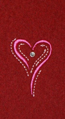 Filztasche für iPhone SE und iPhone 5/S, hellgrau, Stickerei Motiv Herz pink, Tasche hochwertig bestickt und verziert mit Swarovski® Kristall; Filzfarbe bordeaux