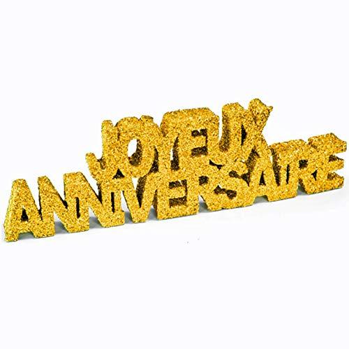h DEC758-1 Tischdeko Buchstabe Joyeux Anniversaire, Pailletten, goldfarben