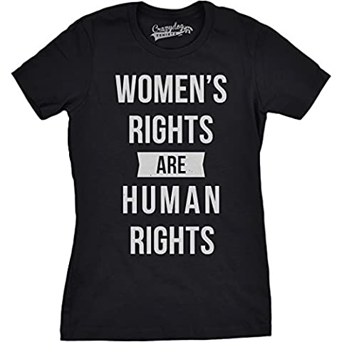 Crazy Dog TShirts - Womens Rights Are Human Rights Cool Girl Power Unity Feminist T shirt for Ladies (Black) XL - Femme