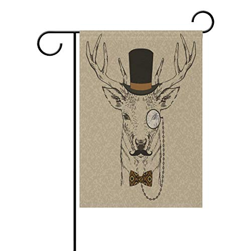 Desing shop Retro Fashion Deer Portrait Garden Flag Double Sided House Banner, Black and Brown Animal Party Yard Home Outdoor Decor Flags 12.5x18 inches -