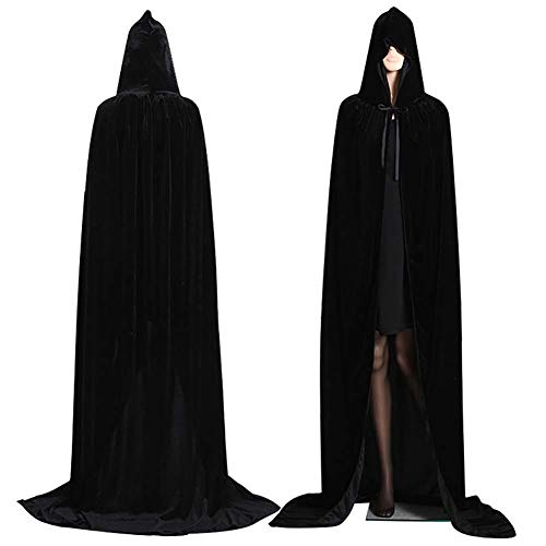 VALUEU Capa de Capucha de Terciopelo Largo con Capucha de Terciopelo de Halloween Capa Disfraz de Vampiro de Lujo con Capucha Bruja de Boda