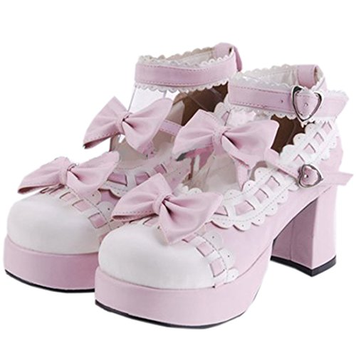 Com Bombas Lolita Saltos Partiss Senhoras Sapatos Pé 3 Pu Altos Do Redondo Dedo Japonês FqS1vB