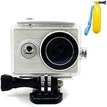 First2savvv XM-FSK-05QSB Carcasa Recubrimiento Protectora Prueba Agua para Cámara Xiaomi Yi Action blanco + Flotabilidad Handheld palillo