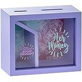 MONEY BOX Caja de Dinero Cuadrada de Madera Novedad para él y para Ella.