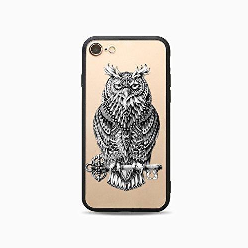 Coque iPhone 7 Plus Housse étui-Case Transparent Liquid Crystal Les animaux en TPU Silicone Clair,Protection Ultra Mince Premium,Coque Prime pour iPhone 7 Plus-Le loup-style 2 1
