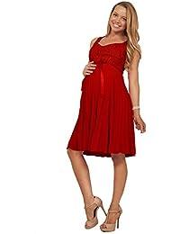 Knielanges Schwangerschafts Kleid mit Pailletten Akkordeon Falten Gürtel