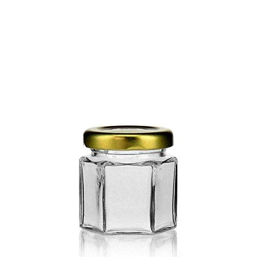 Minigläser mit Schraubverschluss - 10er Set eckig 47ml goldenem Deckel Einmachglas klein Gewürzglas sechseckig Marmeladengläser Vorratsglas Honiggläser mini Probiergläser Einweckglas klein hexagonal