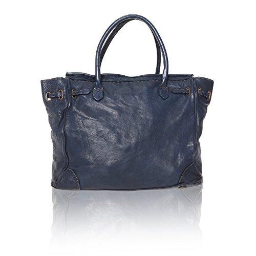 Chicca Borse Linea Vintage - Borsa a Mano Handbag da Donna in Vera Pelle con Intreccio Made in Italy - 39x33x15 Cm Blu Navy